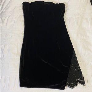 Tobi Black Velvet Bodycon Dress with Lace